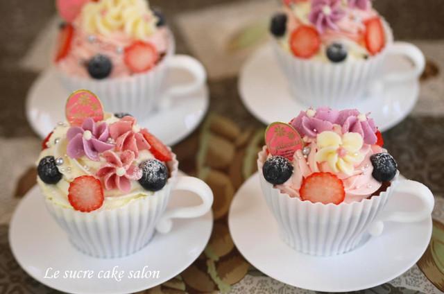 ティーカップのカップケーキ